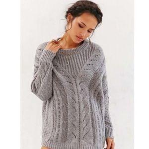 ANTHRO ECOTE Grey Raglan Chunky Knit Sweater